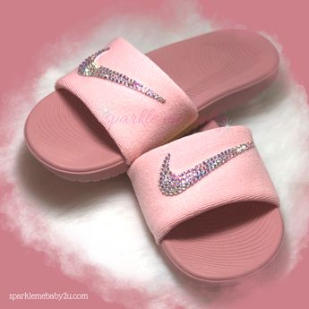 reputable site 57d27 69f23 Nike Slide Women s - Rust Pink ~ NEW Custom Slides - Nike Sandals - Bling  Sandals