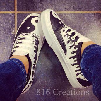 015ea1246783 Hand Painted Eagle Feather On White Vans Era Shoe Customizable