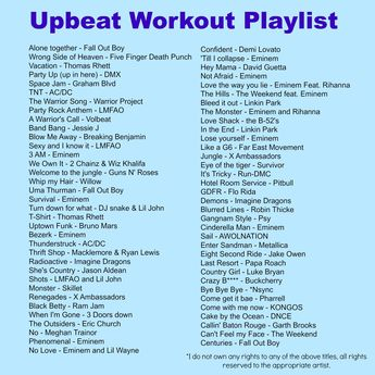My workout playlist, upbeat songs from ALL types of music! #workout #playlist #upbeat