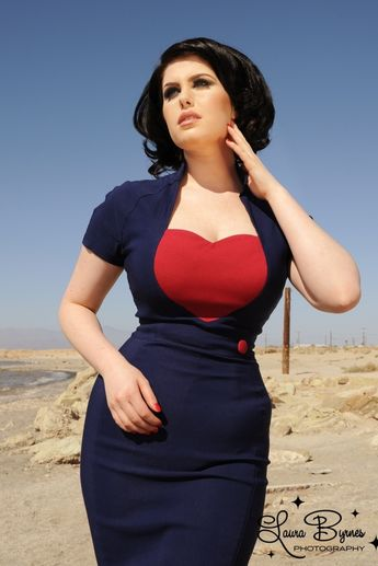 Pinup Couture 50s Veronica Dress in Navy with Red Heart