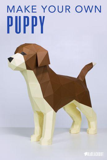 Puppy Dog Papercraft Template, Papercraft Golden Retriever Dog, DIY Labrador Retriever Pattern, Printable PDF Lowpoly Puppy Dog - Download