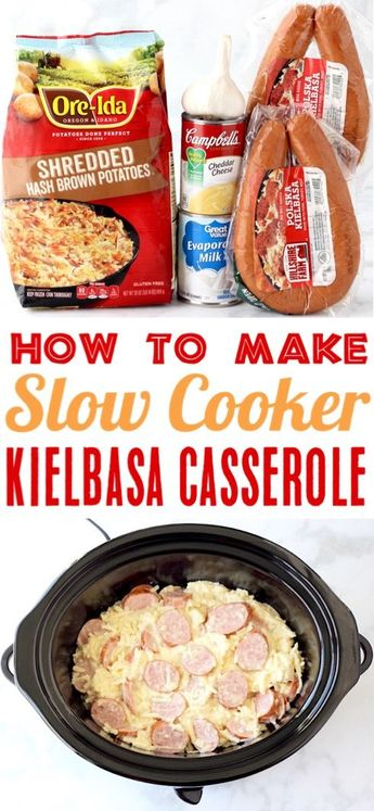 Kielbasa Recipes! This Easy Crockpot Kielbasa and Potatoes Casserole is the perfect easy weeknight dinner or weekend brunch dish! Go grab the recipe and give it a try this week for a cheesy new family favorite!