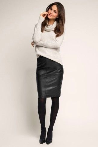 Step up your off-duty look in a Halogen Cashmere Cowl Neck Tunic and a black leather pencil skirt. Why not introduce black leather pumps to the mix for an added touch of style? We're loving that this look is ideal come fall.