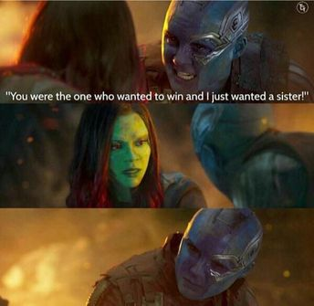 This is my favorite Gamora and Nebula scene because their faces speak more then words ever could.