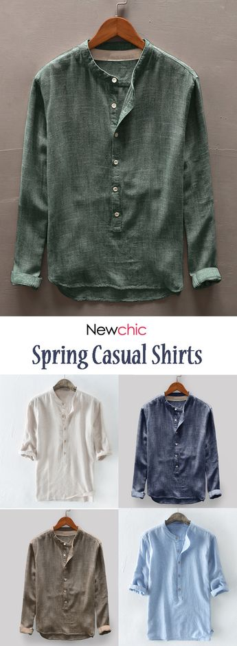 Newchic Hot Sale Mens Spring Shirts.Multi-colored and Favorable. #newchic #menswear #casualshirts