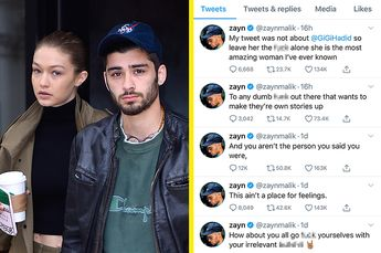 Zayn Just Defended Gigi Hadid In A Very Sweary Twitter Rant