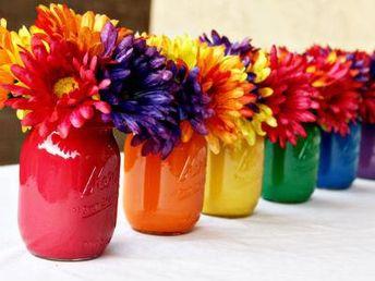 Rainbow mason jar centerpieces (celebrations). - Tastefully Utilizing Rainbows in your Interior