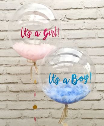 "Baby shower balloons - blue feather balloon ""It's a boy"" and pink feather balloon ""It's a girl"""