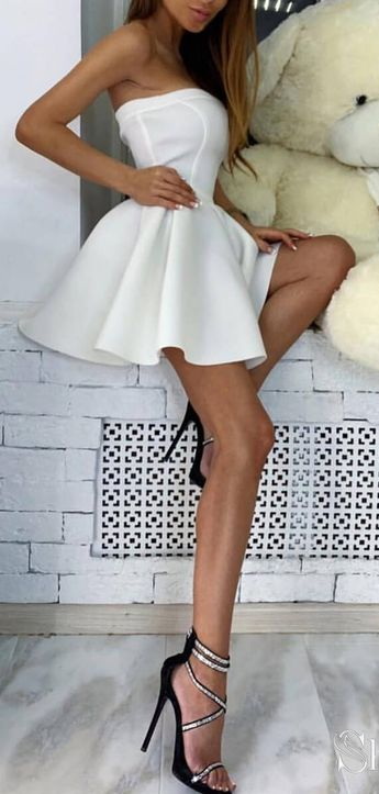 Cheap Simple Strapless Homecoming Dresses Chic Short Party Dress ARD2004