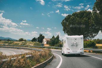 White Caravan Motorhome Car Goes On Highway Road by Grigory_bruev. White Caravan Motorhome Car Goes On Highway Road. #Affiliate #Motorhome, #Caravan, #White, #Car