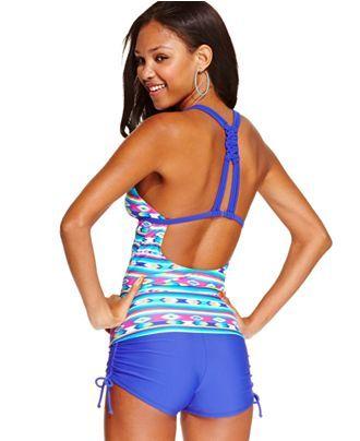 4d61ea103fc39 Hula Honey Aztec-Print Racerback Tankini Top   Boyshorts Swim Bottom -  Swimwear - Women