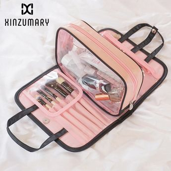 Women two-in-one cosmetic bag folding cosmetic storage Wash bags travel organizer makeup bag large capacity beauty toiletry bags