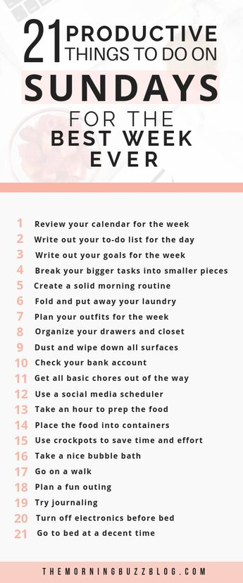 21 Sunday Habits For A Productive Week