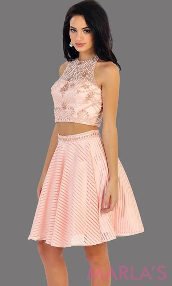 8a70f534b26 1444-Short two piece flowy blush dress with pink sequin bodice. This is a