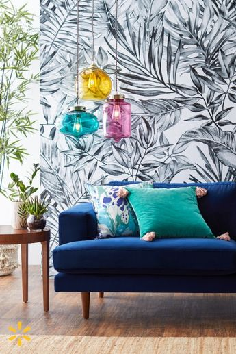 Give your home an eclectic makeover with a blue velvet sofa, Bohemian decor & colorful pendant lights from Drew's new collection. It's a look you'll love coming home to every day.