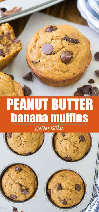 These Peanut Butter Banana Muffins with chocolate chips are easy to make in one bowl. They are a delicious healthy snack or make ahead breakfast! #peanutbutter #peanutbutterrecipes #bananamuffins #chocolatechipmuffins #chocolatechip