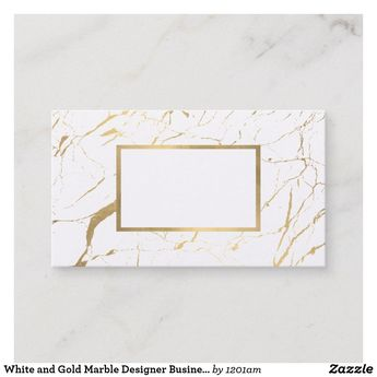 White and Gold Marble Designer Business Card | Zazzle.com