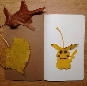 Pokémon Created Using Colorful Leaves and Other Natural Materials