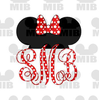 MINNIE EARS Polka Dot Monogram - Digital Image - Personalized Just For You - Great Idea for Disney Shirts, Tote Bags, Pillowcases! on Etsy, $5.00