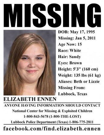 Missing Texas Girl Elizabeth Ennen Strangled