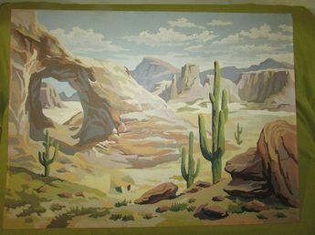 """Vintage 1950's Paint By Number """"Desert Scene"""" Oil Painting,24""""x18"""",Stone Arch"""