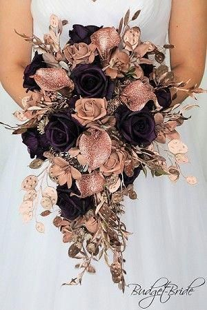Rose Gold Cascading wedding brides bouquet with rose gold calla lily, rose gold foliage, plum roses, rose gold pearls, perfect for any theme wedding