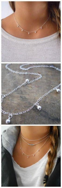 Bijoux – Tendance 2017/2018 : Sterling Silver Drip Necklace, Silver Charms Necklace, Ball Charms Choker Necklace, Sterling Silver Dainty Choker #304