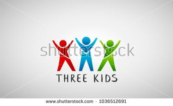 Three Kids Logo. Vector Design