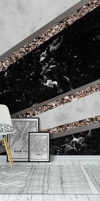 Black White Marble Stripes 1 Wall Mural / Wallpaper Art