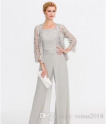86a8debc06d763 2019 Newest Gray Mother of The Bride Dresses Two Pieces Lace Jackets  Mothers Dresses For Wedding