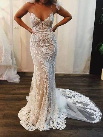 Mermaid Lace Appliques Spaghetti Straps V Neck Ivory Wedding Dresses,Bridal Dresses PW923