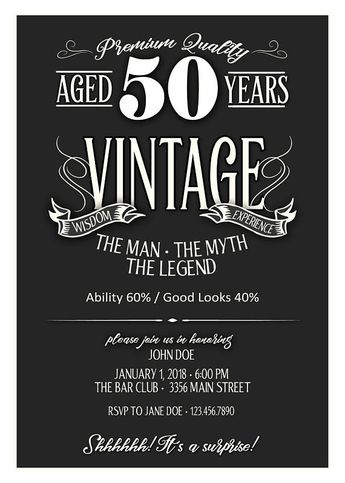 50th birthday invitation for men jpeg printable aged t