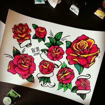 """Last #flashsheet for the year i think #rose #flash #rosetattoo #traditionaltattoo #oldschooltattoo #traditionalflash #oldschoolflash #ink #winsorandnewton…"""