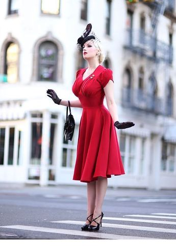 Blonde lady in red