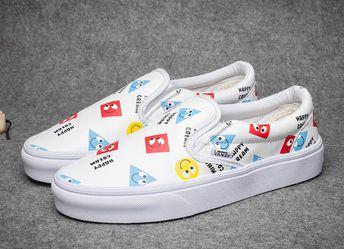 558489050e Vans Happy Cream Smile Slip On White Leather Skate Shoes  Vans