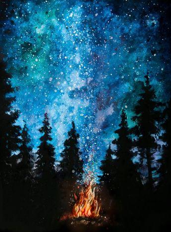 Items similar to Galaxy Night Sky Campfire Painting Print – Wall Art Decor on Etsy