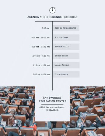 Conference Schedule Timeline Template - Venngage