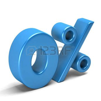 Zero percent interest. Banking and Credit card sign