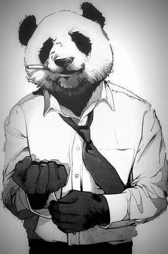El oso panda que trabaja.