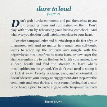 @BreneBrown: 'Feedback is essential for mastery but we have to be mindful about what we take to heart and what we step over. #DaretoLead '