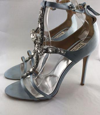 2905d873b6c Details about Badgley Mischka Women s Blue Satin Stone Embellished Heeled  Sandal sz 10