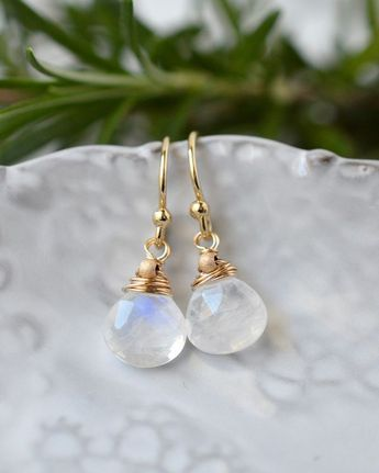 Small Wire Wrapped Moonstone Dangle Earrings in gold fill. Elegantly handcrafted gemstone jewelry by Blue Room Gems.
