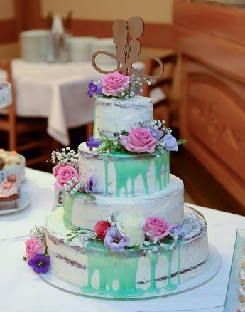 Hochzeitstorte Vintage Frische Blumen Hochzeitstorte Ohn