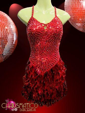 2fdacc2b4b CHARISMATICO Swirl Patterned Red Showgirl'S Dress With Laser-Cutout Diamond  Sequin Fringe