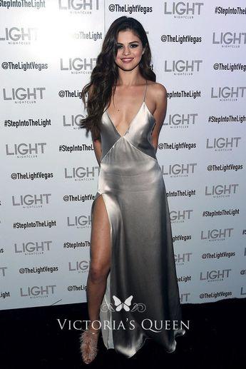 c1ba726137e5 Selena Gomez Silver Sexy Plunging V-neck Spaghetti Strap Side Slit Prom  Dress