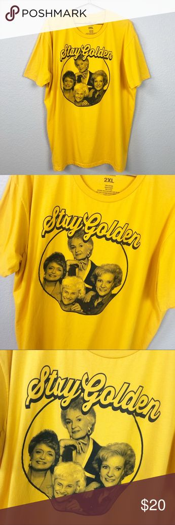"""Golden Girls Graphic Tee Golden Girls Tee Size 2X Mustard Yellow with Black Text and Graphic Photo of Golden Girls Cast  ▪️Underarm to Underarm - 25"""" ▪️Length - 30.5"""" ▪️100% Cotton ▪️Condition: Pre - Loved/Excellent Used Condition {Tiny Hole on Back Where Tag Was - Shown in Photos} ABC Studios Tops Tees - Short Sleeve"""