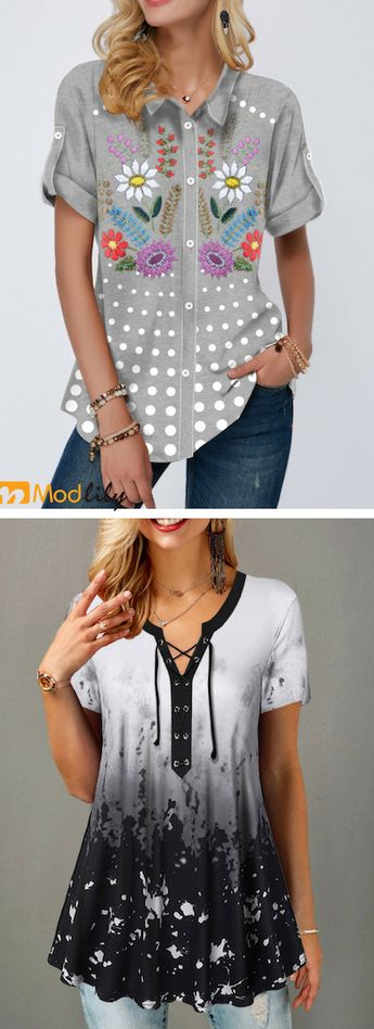 grey, flower printed, short sleeve, casual, 2019 trends, womens outfit.