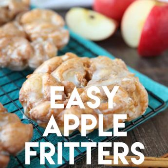 Apple Fritters – an easy and delicious yeast doughnut with chunks of apples, ground cinnamon, and a sweet glaze. #ad @rhodesbread