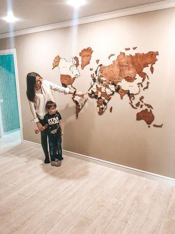 Push Pin World Map Wall Home Art Map of the World Wanderlust Gift for Wife Husband Custom Wall Decor