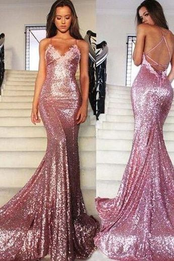 a59a29c0ac91 Sexy Prom Dresses,Rose Gold Prom Gowns,Sequins Prom Dress,Mermaid Open Back